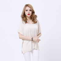 Women Crew Neck Regular Classic Loose Solid Color Women Sheer Knitted T-shirts Irregular Open Fork Tee Shirt Short Bat Sleeve Jumper Blouse tm79 2014 Hot-Sale Tees