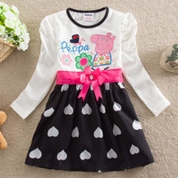 Wholesale girls peppa pig dress nova hot sale children clothing autumn winter baby long sleeve party dress white kids dresses in stock H4643