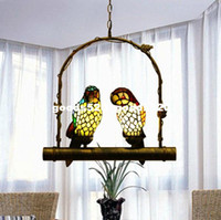 Wholesale Tiffany Style Stained Glass Double Parrots Pendant Lamp Hanging Lamp