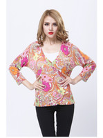 Wholesale Classic Plus Size Multi colored Women Single breasted Cardigan Sexy Deep V neck Sweater Floral print Coat tm32 Highest New Fashion