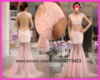 allure evening dress - 2015 Sexy Allure Pink Lace See Through Open Back Cap Sleeve Tulle Vestido De Festa Prom Evening Dresses E5904