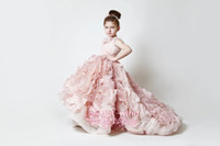 Wholesale 2014 Exquisite Pink Ruffles Wedding Flower Girl Dresses Sweep Train Custom Made Applique Girls Pageant Birthday Party Formal Gowns BO3897