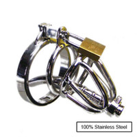 Male Catheters & Sounds  Latest Small-Size Male 100% stainless steel Cock Cage Chastity Art Device with thick Catheter Cock ring BDSM Sex Stoys