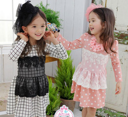 Wholesale Quality Children Clothing Korean Child Fall Dress Pure Cotton Lace Wave Point Grid Baby Girl Princess Dresses Age Kids Dress GX646