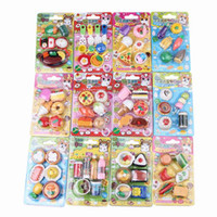 Wholesale New Arrival Kids Cute Food Rubber Pencil Eraser Sets School Supplies GMH
