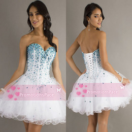 Wholesale Cheap Only Artificial Diamond Short Aline Party Dresses Beading Sweetheart Sexy Cocktail Dresses Mini Tulle Prom Dresses