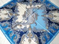 silk twill scarf - 2015 Fashion Blue Mulberry Silk Manual Edge Silk Twill Women Print Pure Silk Scarf Infinity Square Shawl