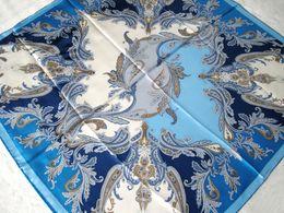 Fashion Stipe Flowers Print Silk Scarf Women Blue Assorted Color Hand Roll-Hemmed Silk Twill Infinity Square Shawl