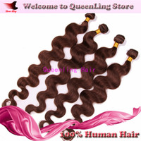 Wholesale No1 Selling A Grade Peruvian Virgin Remy Hair Weaves Hair extension Body Wave Medium Brown