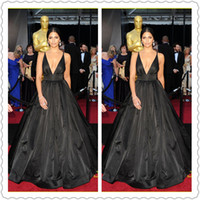 Wholesale 2014 Sexy Deep V Neck Elie Saab Black Backless Matthew Mconaughey Camila Alves Oscars Ball Gown Fashion Evening Celebrity Red Carpet Dresses