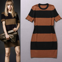 2014 New Arrival European Style One piece bodycon stripes Dr...