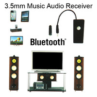 Wholesale 3 mm Wireless Music Receiver for Cell Phones Tablet iPhone iPod iPad Samsung Bluetooth Audio Dongle Adaptor to Home Theatre Speaker DHL