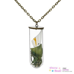 Wholesale Glass Jewelry Bottle Necklace White Lily Flower Sand Stone Antique Bronze cm quot long C00551