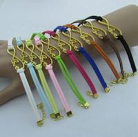 achat en gros de infini or chaud-CHAUD ! 30pcs Gold Plated Infinity lien chaîne Corée velours Bracelets 11 couleurs à la mode (z303)
