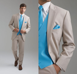 Wholesale Leisure Slim Fit Two Buttons Business Groom Tuxedos Notch Lapel Beige Groomsmen Suits Custom Made Wedding Prom Suits For Men DL1312766