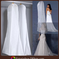 Wholesale 170 cm Wedding Dust Cover White Transparent white Portable Dual Use Bags Train Evening Prom Wedding Dress Dust Cover