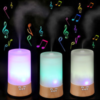 Ultrasonic air music - High Quality Wood Base Air Humidifier Air Purification Diffuser Amora Humidifier with Music Function HOA_351