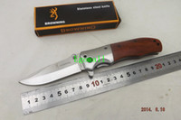 Wholesale 2014 NEW Browning DA51 Folding Tactical Collection Camping Knife HRC Satin Blade Stainless HEAD Wood Handle A419
