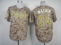 Baseball fashion baseball jerseys - Padres Maybin Camo Baseball Jersey with Gold Name Number Embroidered Cool Base Authentic Jerseys SD Fashion Sports Jersey Baseball Wears