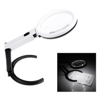 Wholesale Lighted Desk Magnifiers - Light Magnifier Loupe Magnifying Glass Lens Table Desk-type Lamp Handheld Foldable 2x 120mm 5x 28mm Lupa Glasses Loupes 10 LED H10529