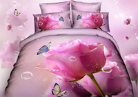 100% Cotton Woven Home 2014 New pink rose bed linens queen 3d floral printing bedclothes bedding sets Cotton butterfly Quilt Duvet cover bed sheet