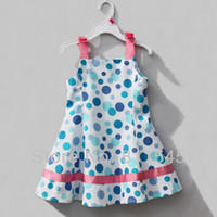 TuTu Summer A-Line Blue Polka Dot Infant Girl Dress Summer Casual Baby Wear Fashion 2014 New Kid Clothes Toddler Clothing Outfit Children Outerwear