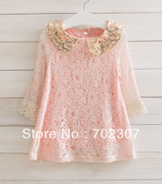 wholesale 2013 new lace dress Sequins dress , long-sleeved princess style value pink 5PCS LOT free shipping SK-9