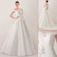 Wholesale Famous Off The Shoulder Wedding Dresses Ivory Organza And Lace A line Custom Made Bridal Gowns UK Garden Bride Dress French