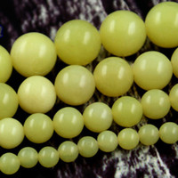 Wholesale Natural Gemstones Lemon Jade Dyed mm mm mm mm Round Yellow Stone Beads Loose Beads Fit Necklace Bracelet Strands