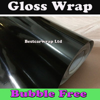 Wholesale Black Glossy Vinyl Car wrapping with Air Bubble Free Shiny Black Gloss Film Wrap m quality size x30m Roll