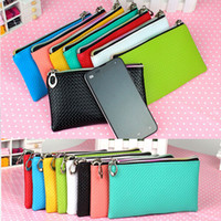 Wholesale 1 Pc Womens Faux Leather Wristlet Clutch Evening Bag Handbag Purse Cell Phone Pouch Free CA05040