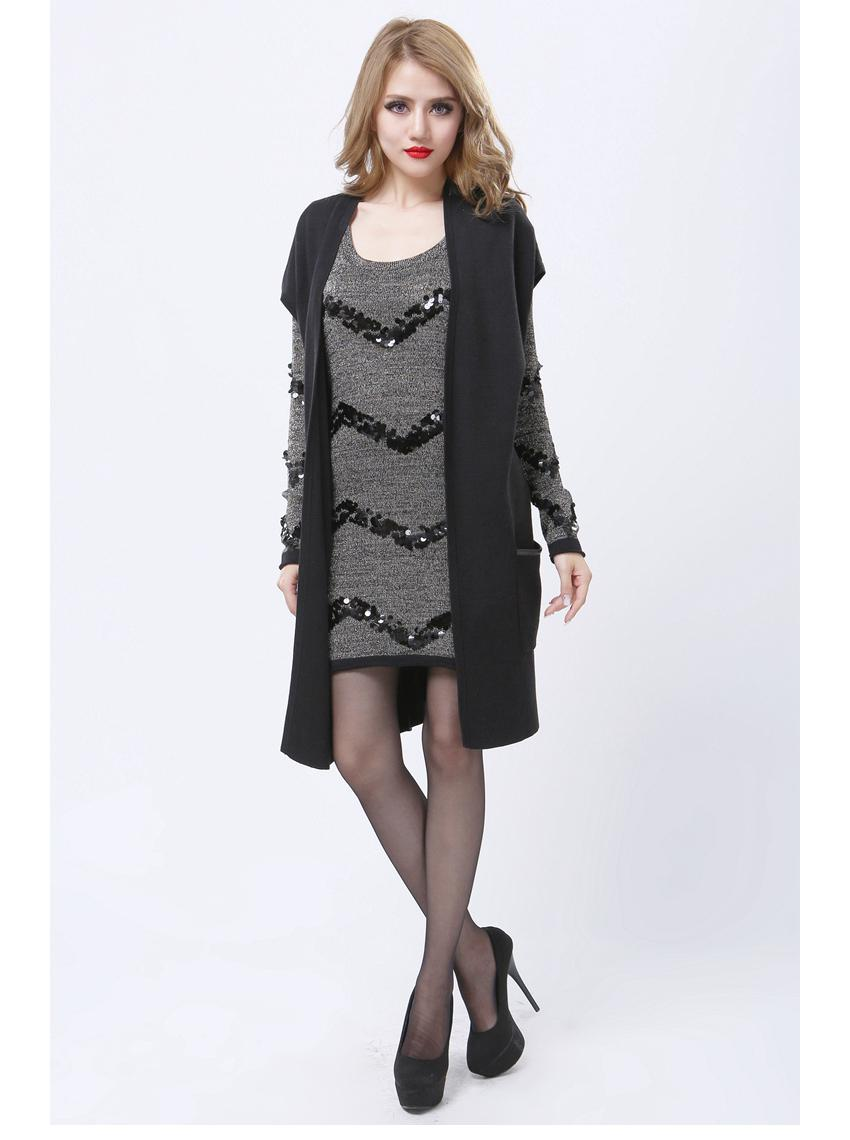 Black Cotton Long Vest Coat Women European Novelty Sleeveless Knit