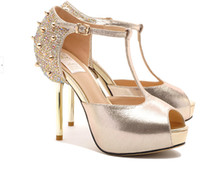 Wholesale 2014 Hot Selling High Heels Sandals Fish Mouth Gold Brilda Shoes with Rhinestones and Rivets B