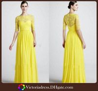 Reference Images Lace Long Sleeve 2014 Yellow Zuhair Murad Long Sleeve Bridesmaid Dresses A-line Floor Length Sheer Lace And Chiffon Custom Made Evening Party Formal Gown