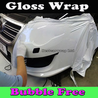 Wholesale Shiny Glossy White Car Wrapping Vinyl High Gloss white Film with Air Bubble Free White Gloss Foile Stickers Size x30m Roll