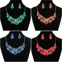 Earrings & Necklace bib store - Vinatge Necklace Earring Set Acrylic Bib Statement Collar Necklace Jewelry Set For Women Cheap fine Store