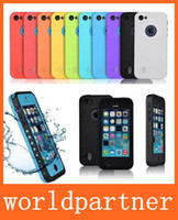 For Apple iPhone Plastic White Redpepper Waterproof Shockproof Hard Case Cover Skin Protector for Iphone 4 4S 5 5S 5C with Earphone Adapter Retail Package lowest Price