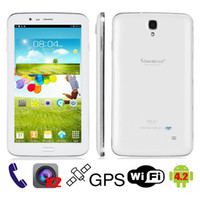Wholesale Sanei G706 G Phone Call Tablet PC inch IPS Quad Core Android MTK8382 GHz G G Wifi GPS Bluetooth Dual Camera SIM amp Leather Case