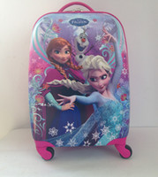 "Backpacks PVC Men 2014 NEW Frozen bags anna elsa 16"" inches carton rolling children luggage,ABS hard shell trolley suitcase Pull Rod Travel kids trunk"
