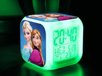Wholesale 20pcs DHL EMS freeshipping Frozen Alarm Clock LED Colorful Change Digital Alarm Thermometer Night Colorful Glowing Clock