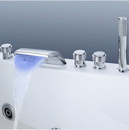 Wholesale LED Color Changing Bathtub Waterfall Faucet Hand Shower Sprayer Deck Mounted Tap