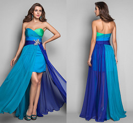 Wholesale STK In Stock Formal Knee Length2014 Bridesmaid Dresses Chiffon Ruffle Multi Color Short Front Long Back Evening Gown