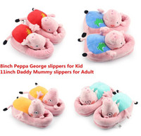 Unisex 8-11 Years Video Games 4 pairs lot New 2014 Peppa pig family Plush Slippers Peppa pig George pig Mummy pig and Daddy Pig indoor Slipper plush shoes vey soft