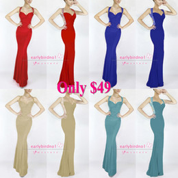 Wholesale Big Promotion Only New Sexy Halter Jersey Mermaid Backless Prom Dresses Beaded Crystals Ruffles Floor Length Evening Gowns CPS052