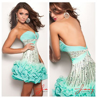 Wholesale Royal Sweetheart Light Blue Ruched Bust With Stones Dropped Torso Sequins Petal Hemline Chiffon Short Puffy Dresses E708