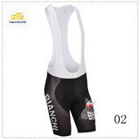 Wholesale BIANCHI High Quality Cycling Bib Pants Men Summer Black Coolmax Padded Pants Anti Pilling XS XL Cycling Pants