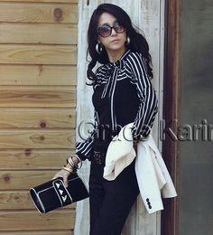 Wholesale Stylsih New Korean Womens Slim Fit Stripe Long Sleeve T Shirt Tops Size S XL CL5586