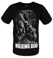 Men lycra t shirt - THE WALKING DEAD Rick Grimes Lycra Black T Shirts Tee S M L XL