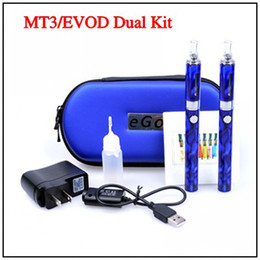 Wholesale E Cigarette EVOD Dual MT3 Double Kits Flower Stone MT3 Atomizer mah mah mah Battery for Electronic Cigarette E Cig All Colors