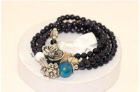 Wholesale Hot recommendation Natural blue sandstone lady exquisite bracelet Blue crystal agate bracelet coin Buddha chain